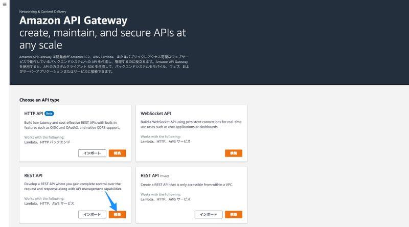 API Gateway のコンソール